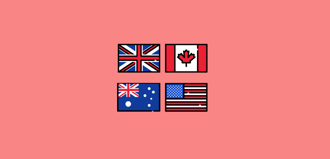 English speaking country flags